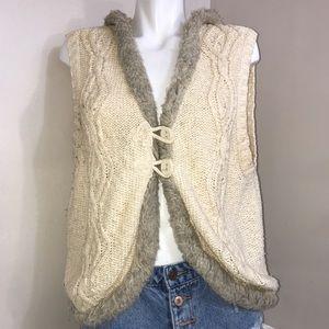 Old Navy Vintage Fur Trimmed Beige Sweater Vest